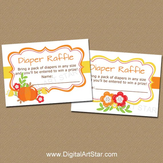 Fall Baby Shower Diaper Raffle, Fall Baby Shower Games Printable