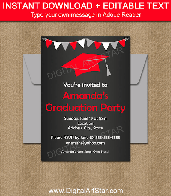 High School Graduation Invitation Template, Chalkboard Graduation