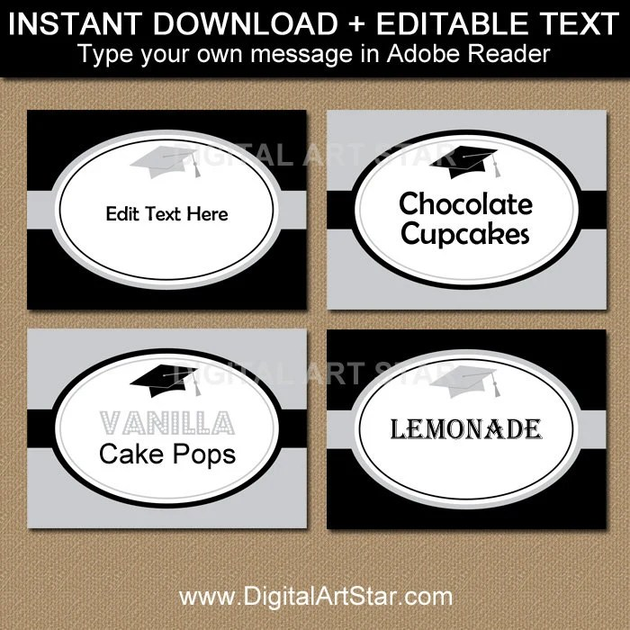 Black and Silver Graduation Candy Buffet Label Template, High School