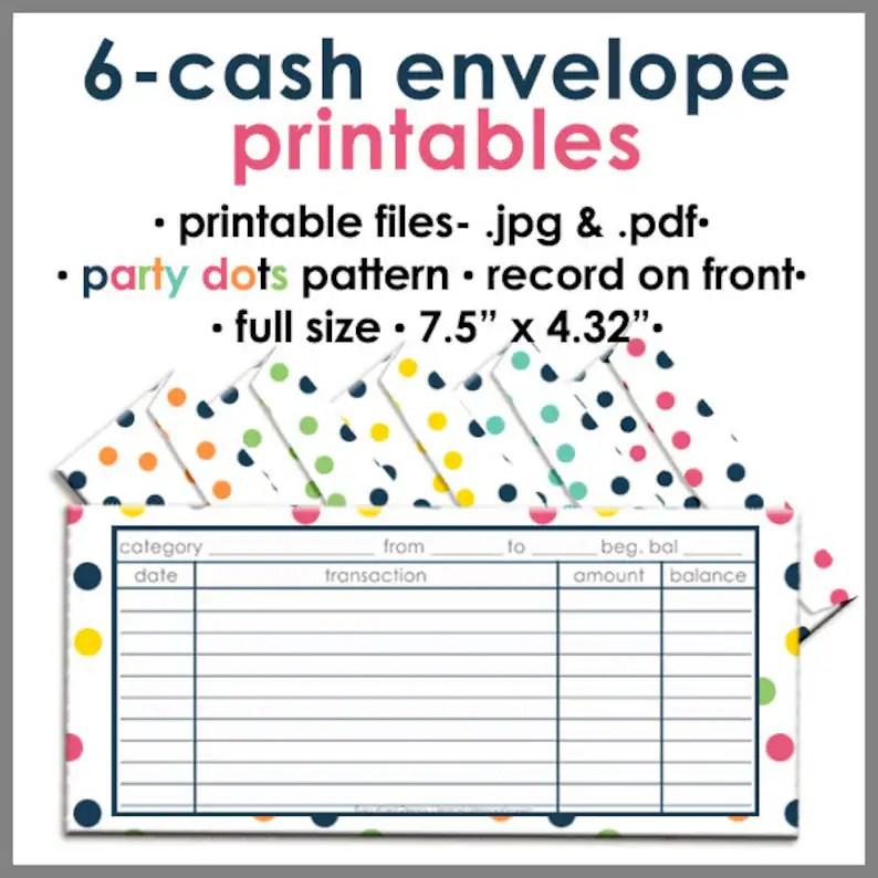 Printable Blank Cash Envelope Budgeting System PARTY DOTS, Money Budget  Envelopes, Cash Organizer - Set of 6, Instant Download - PB1521