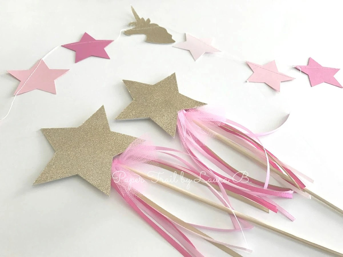 Magical Star Wand in Pink  Gold Glitter Pink Ombre Ribbon Etsy