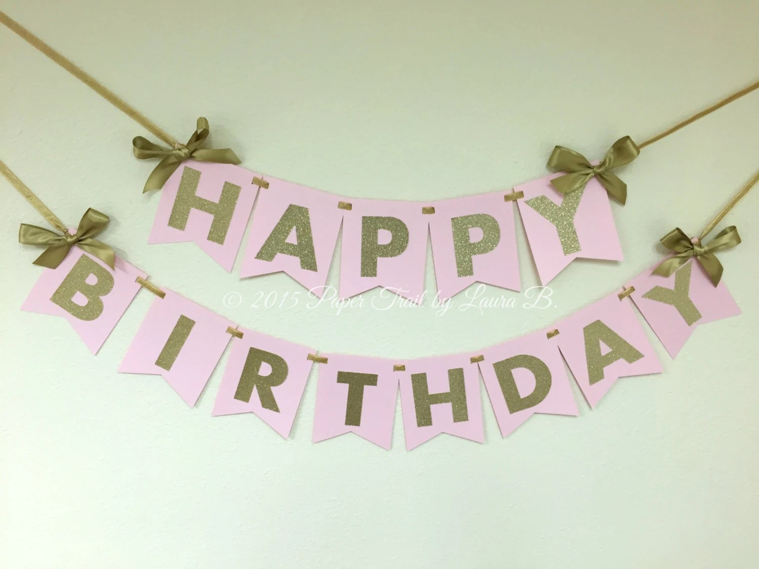 Pink and Gold Happy Birthday Banner First Birthday Etsy