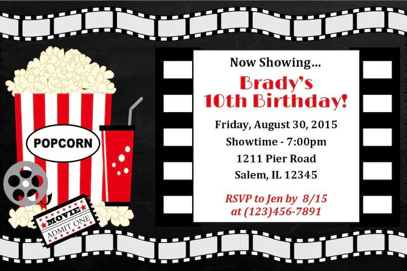 Movie Night Birthday Party Invitation Digital File / Movie Etsy