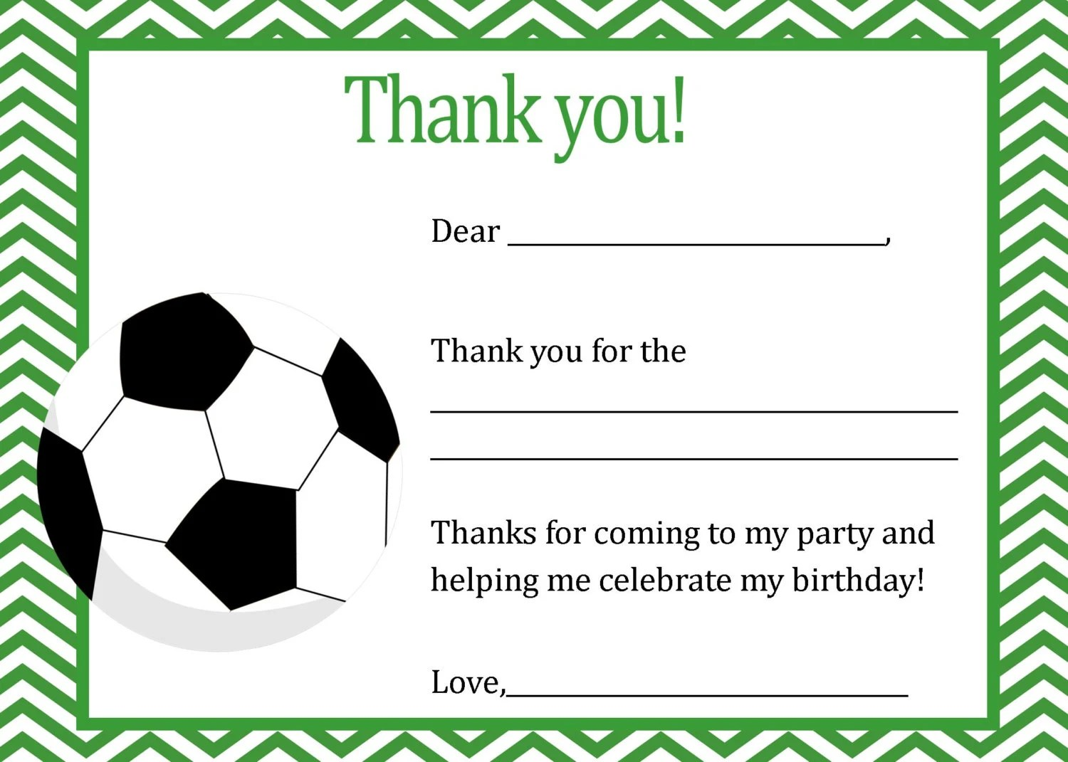 Soocer Birthday Thank You Card - Digital file - You print / Soccer