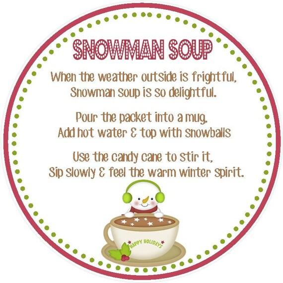 Snowman Soup Favor Tag - Printable File - Instant Download - Snowman