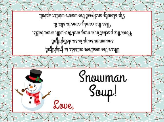 Snowman Soup Bag Topper Fits Plastic sandwich bags Etsy