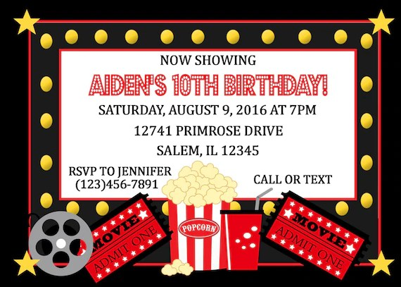 Movie Night Birthday Party Invitation (Digital File) / Movie