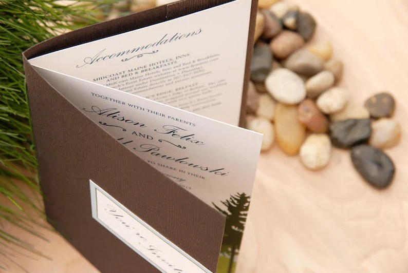 Wedding Invitation Booklet Sample BASIC 4 Page Destination Etsy