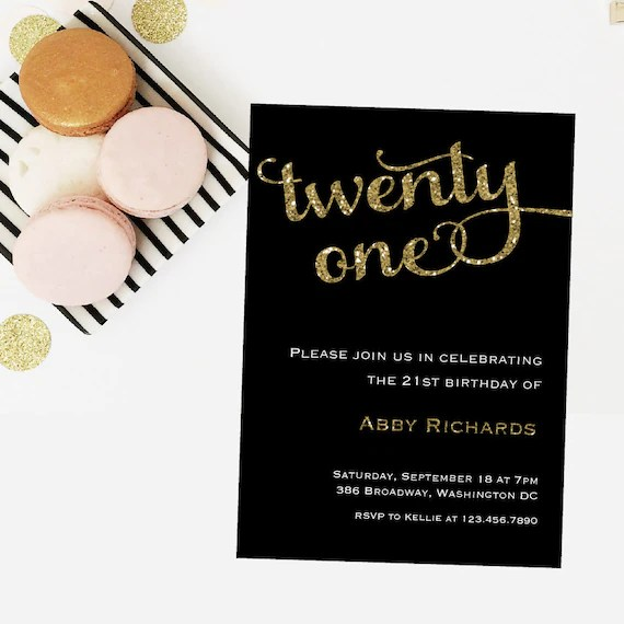 Twenty One Birthday Invitation - 5x7 Birthday Invitations - Free