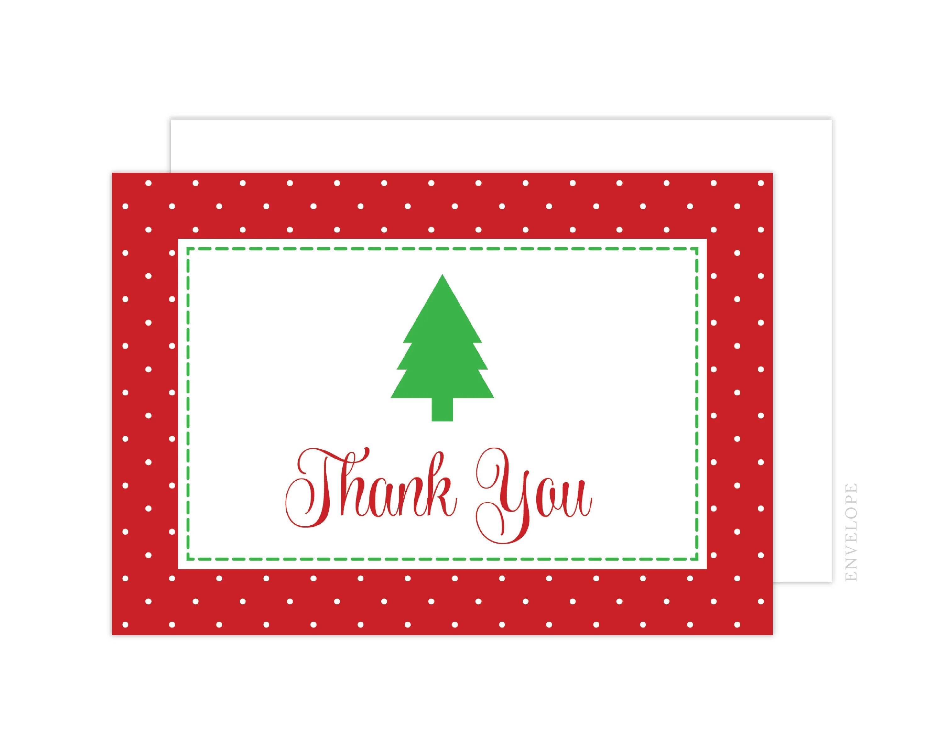 Red and Green Christmas Thank You Cards Holiday Thank You Etsy