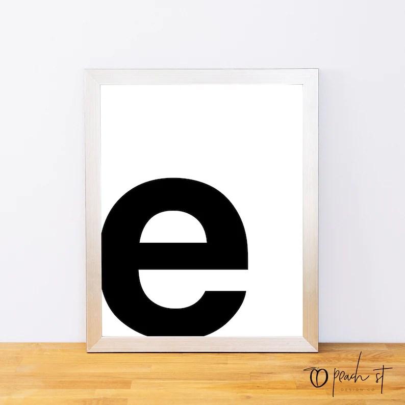 Lowercase Letter E Typography Print Printable Monogram Etsy