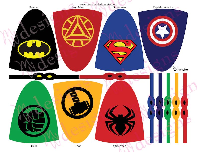 Superhero Lollipop Capes and Masks / Superhero Party / INSTANT Etsy
