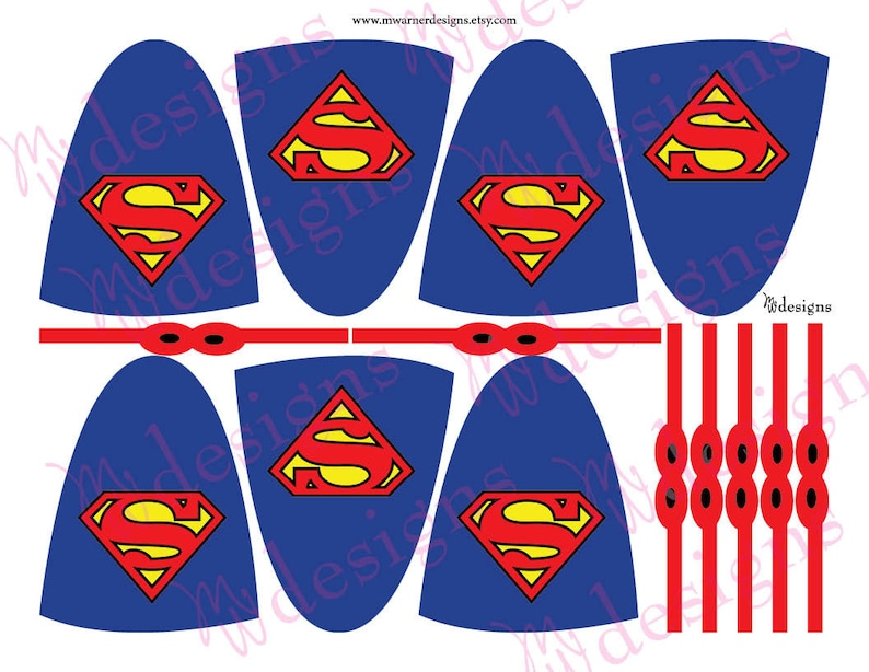 Superman Lollipop Capes and Masks / Superhero Party / INSTANT Etsy