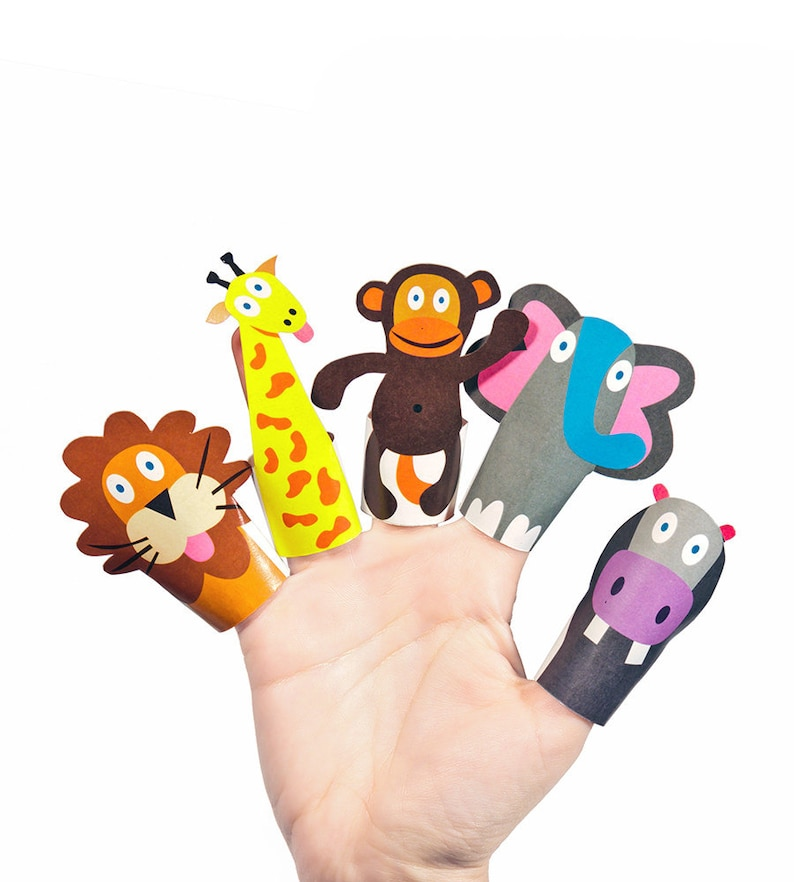 Jungle Animals Paper Finger Puppets PRINTABLE PDF Toy DIY Etsy