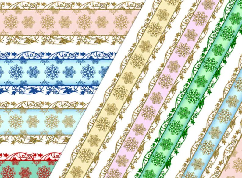Digital clip art Winter wedding Digital Scrapbook border gold Etsy