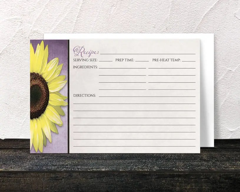 Sunflower Recipe Cards - Rustic Yellow Floral design over Purple