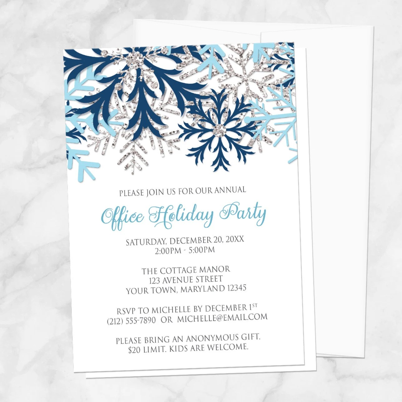 Snowflake Holiday Party Invitations Blue Silver Winter Etsy
