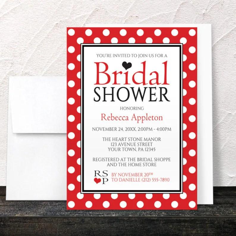 Red Polka Dot Bridal Shower Invitations Black White and Red Etsy