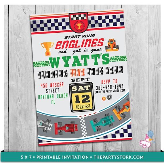 Race Car Invitation Printable Personalized Boys Racing Birthday