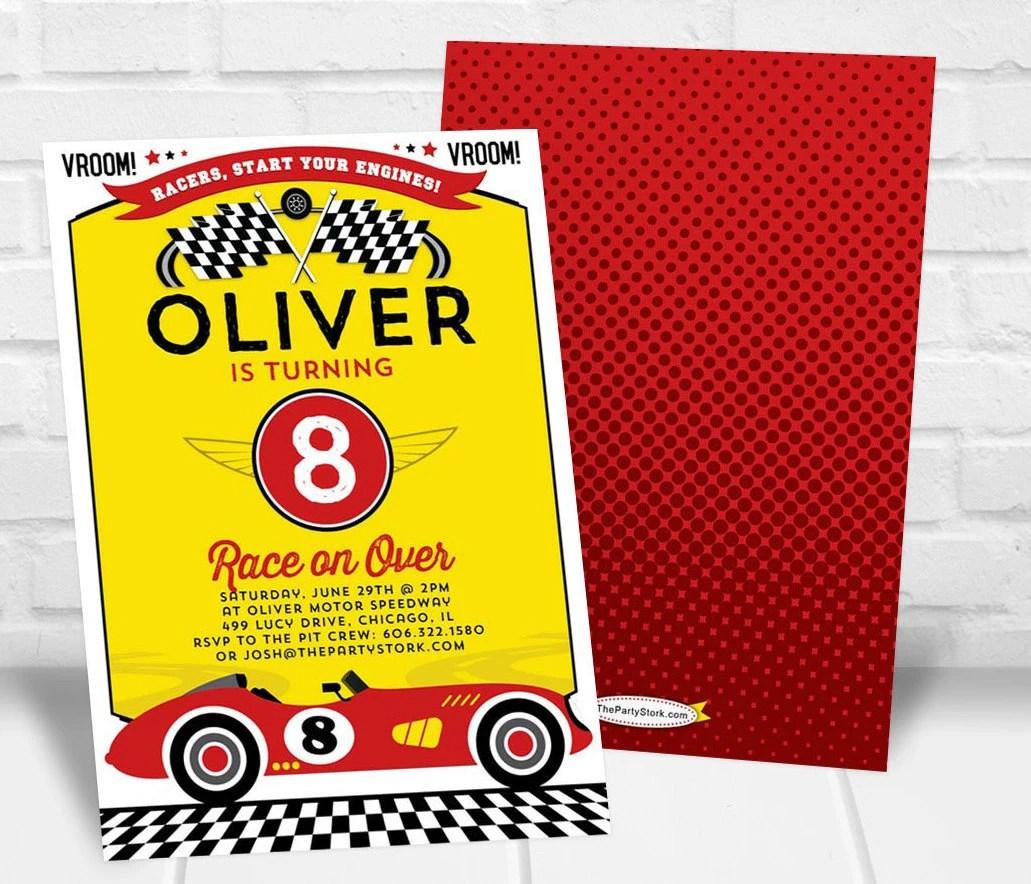 Race Car Invitation Printable Boys Birthday Party Invite Etsy