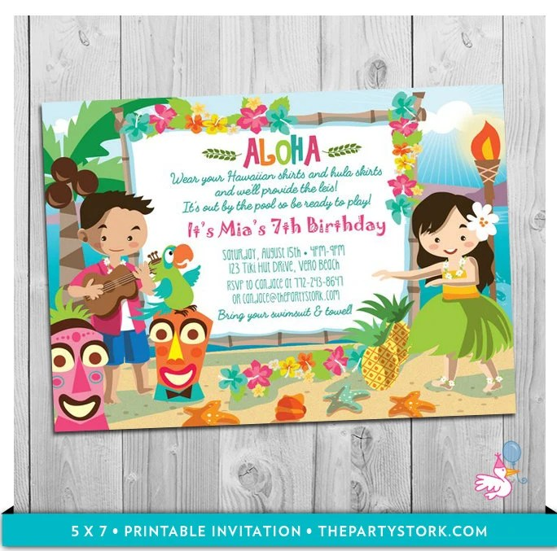 Luau Party Invitation Printable Girls Birthday Hawaiian Luau Etsy