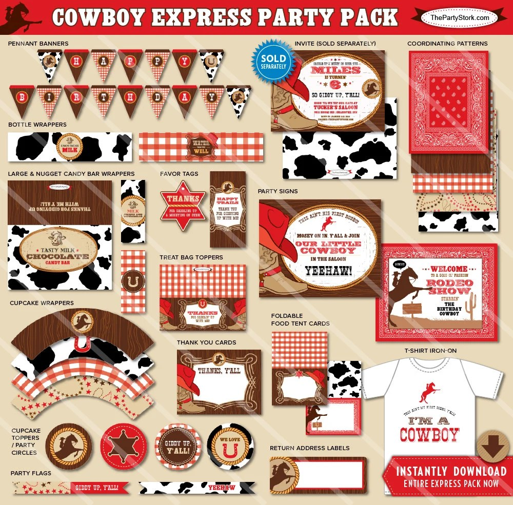 Cowboy Party Decorations Cowboy Birthday Party Decorations