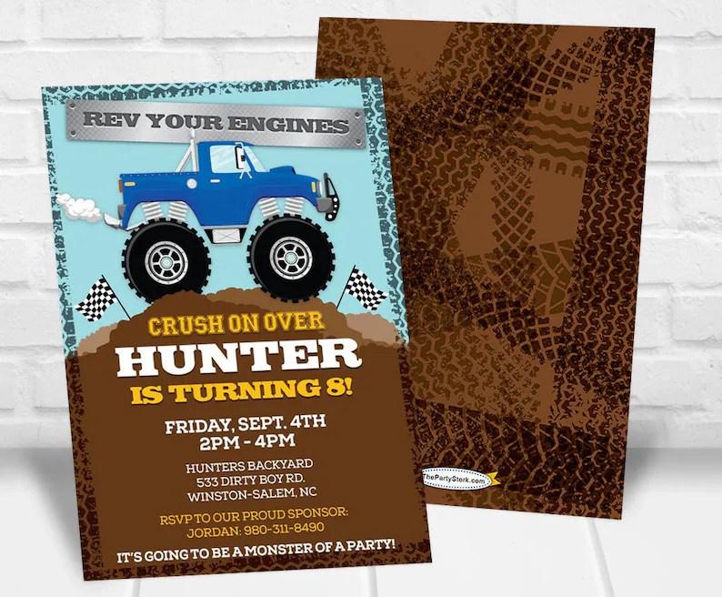 Monster Truck Invitation Monster Truck Birthday Invitations Etsy