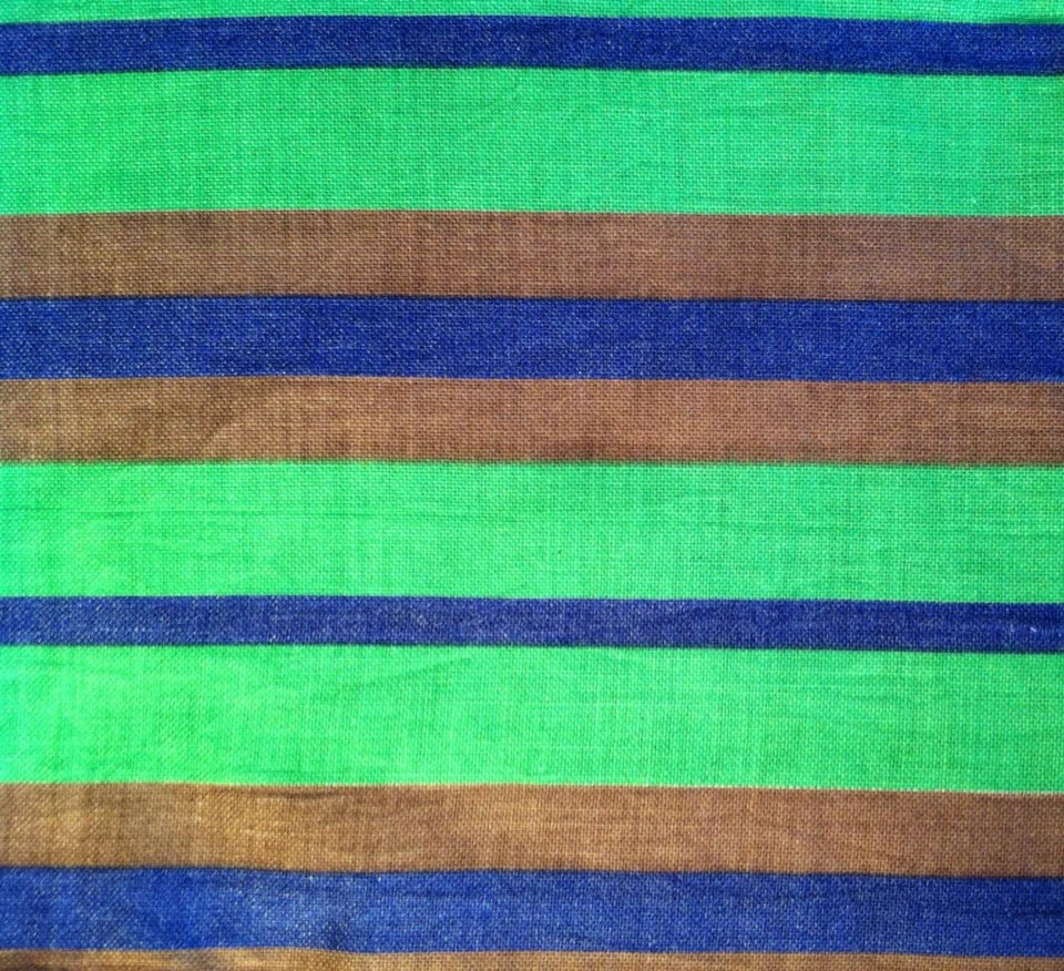 Cotton Fabric / Stripe Fabric / Vintage Striped Fabric / Green Etsy