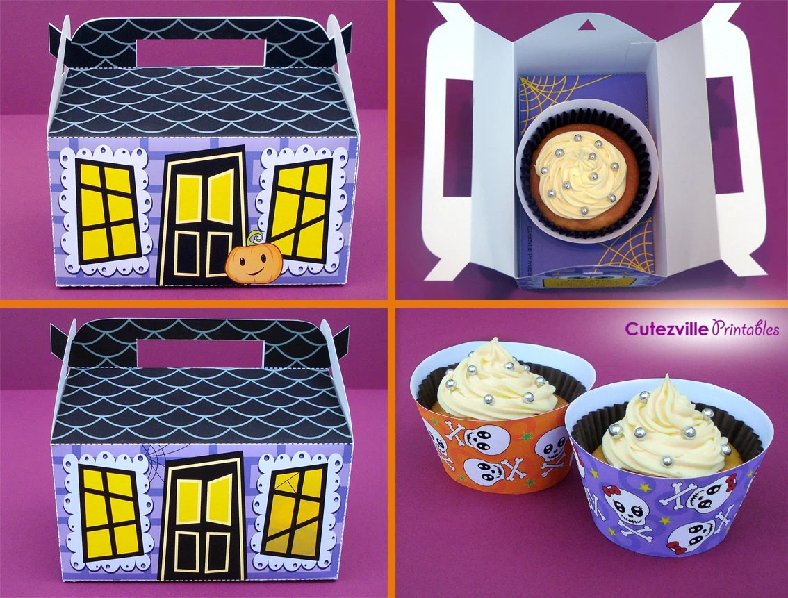Halloween Haunted House Cupcake Box Candy  Favor Box Etsy