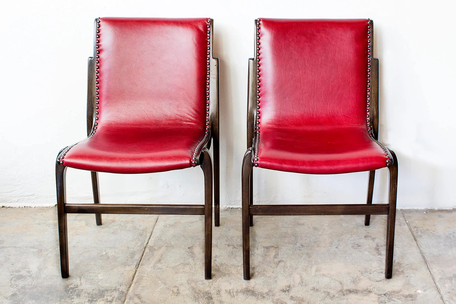 Swedish Mid Century Furniture Pair Of Bentwood Swedish Mid Century Modern Side Chairs By Kungsor Stolen Refinished In Cherry Red Leather