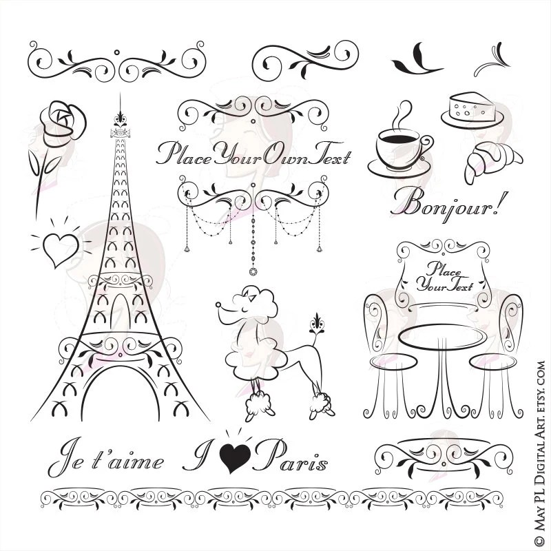 Paris Theme Party Invitation Clipart features handdrawn Etsy