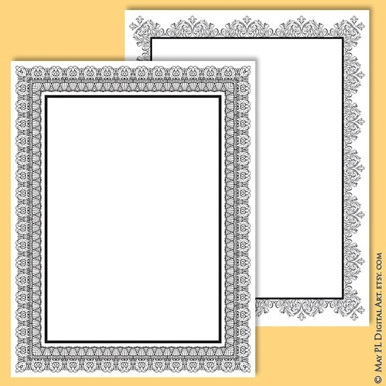 8x11 Certificate Border Frames VECTOR Clip Art Vintage Etsy