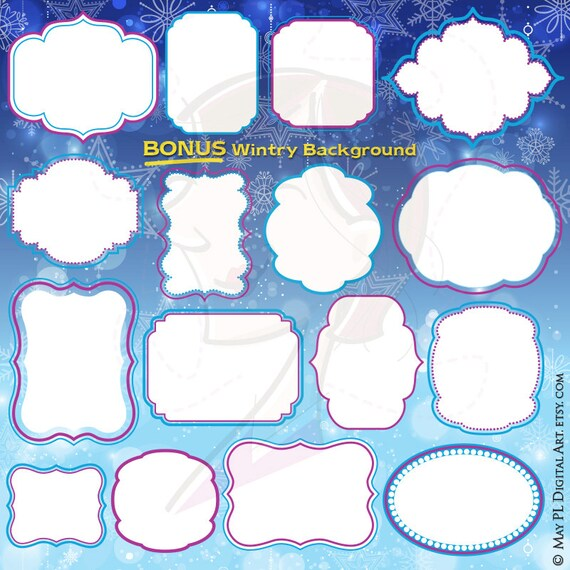 Frozen Digital Frames Winter Clipart Diy Birthday Invitation Crafts Labels  Tags FREE Background Digital Scrapbooking COMMERCIAL USE 10705