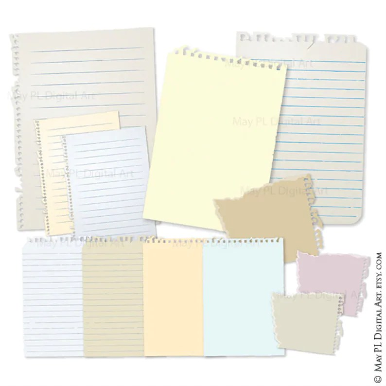 Ripped Note Paper Lined Notepad and Notebook Paper Printable Etsy