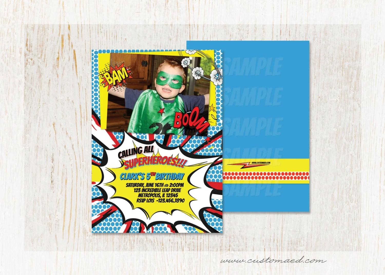 SUPERHERO BIRTHDAY Invitation, Boy Birthday Party Invitations