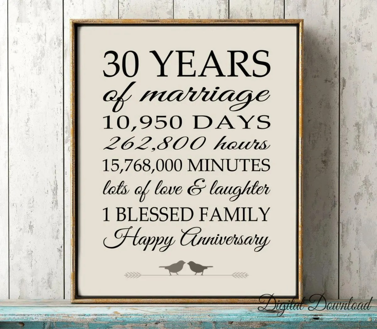 30th ANNIVERSARY Sign Instant GIFT 30 Years PRINTABLE Party Etsy