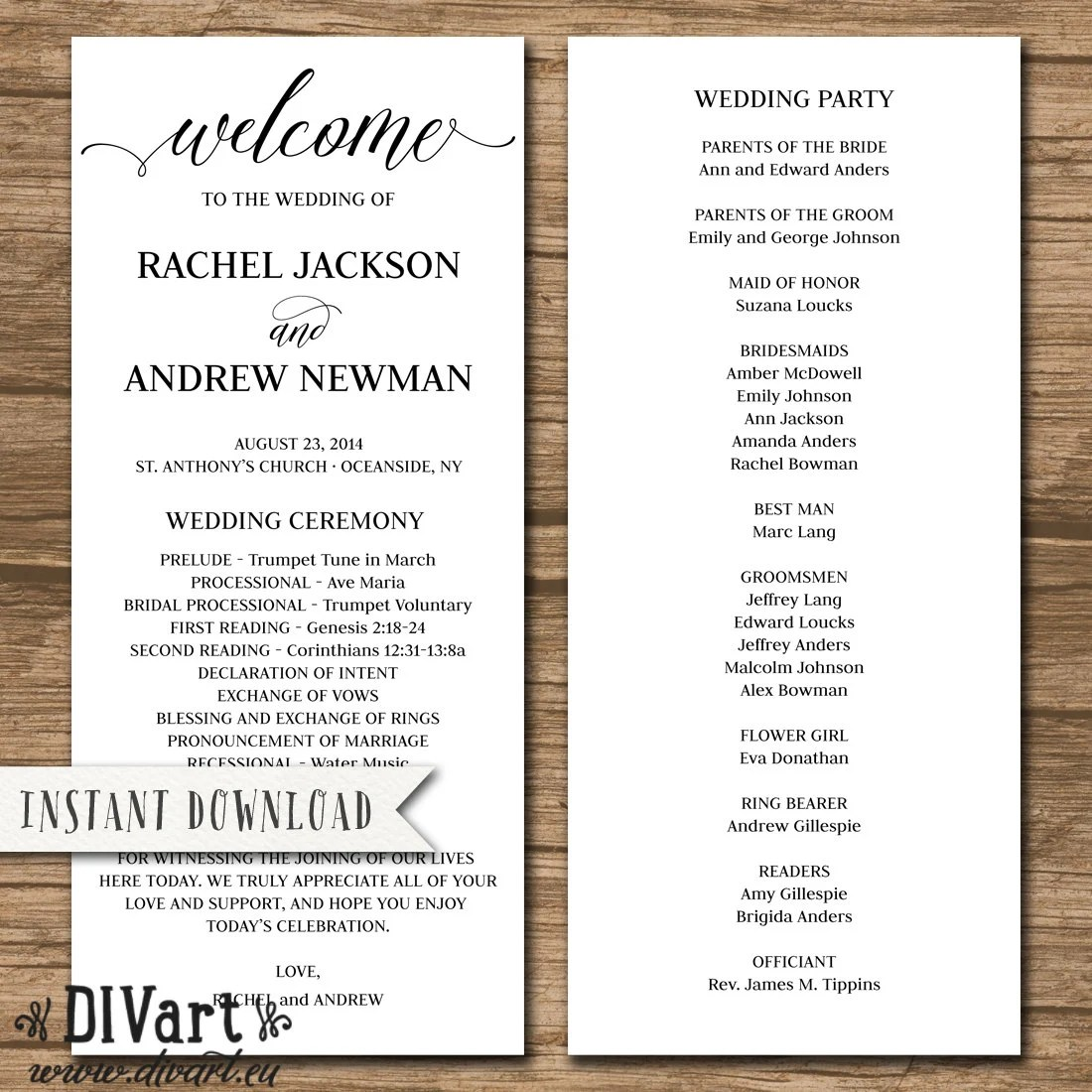 Rustic Wedding Program Wedding Ceremony Order of Events Etsy