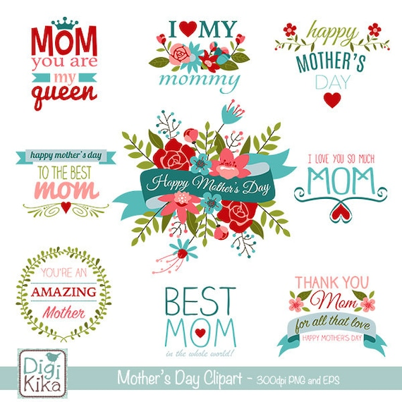 Mothers Day Clip Art Mothers Day Word Clipart Mother Etsy - word clip art