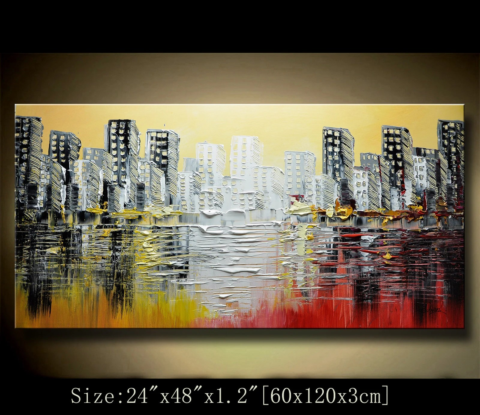 Wall Paintings For Sale Abstract Wall Painting Original Palette Knife Painting Texture Acrylic Painting Multicolored Cityscape Wall Contemporary Art By Chen New95