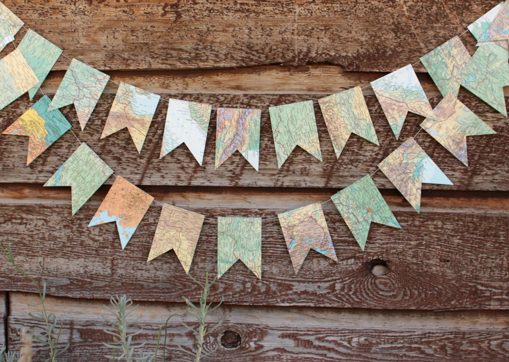 Atlas Decoration Map Bunting Paper Garland Party Decoration Made From Atlas Pages Made To Order 6 Feet Long