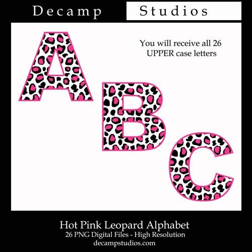 LEOPARD PRINT LETTERS Clipart Hot Pink Printable Safari Animal Etsy