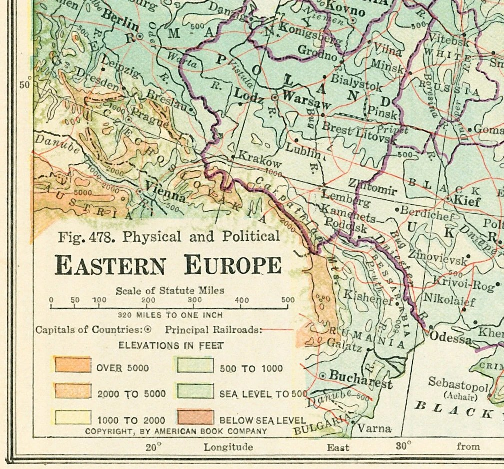 1930 Eastern Europe map print Baltic States Union of Socialist Etsy