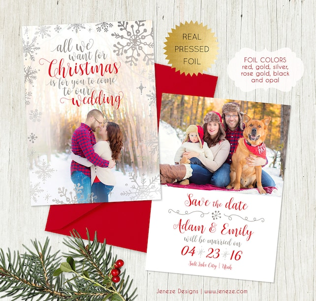 Holiday Photo Save the Date Card - Say Merry Christmas and Save the