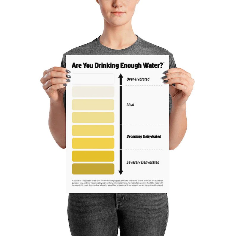 Pee Color Chart Water Intake Chart Urine Color Chart Pee Etsy