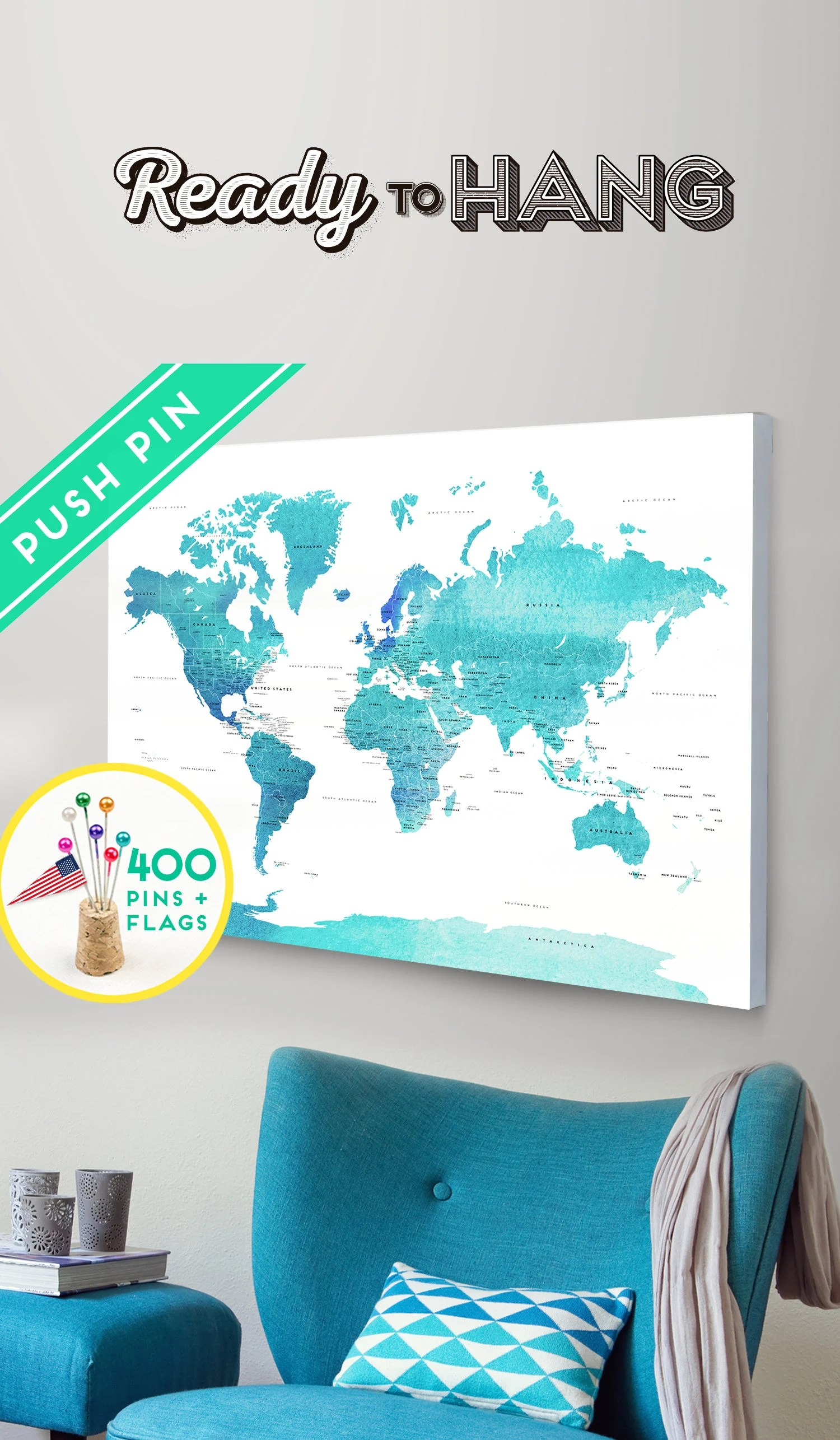 Push Pin World Map CANVAS World Map Watercolor Blue Countries Etsy