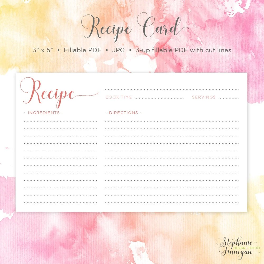 Recipe Card 3x5 Recipe Card Printable Recipe Printable Etsy