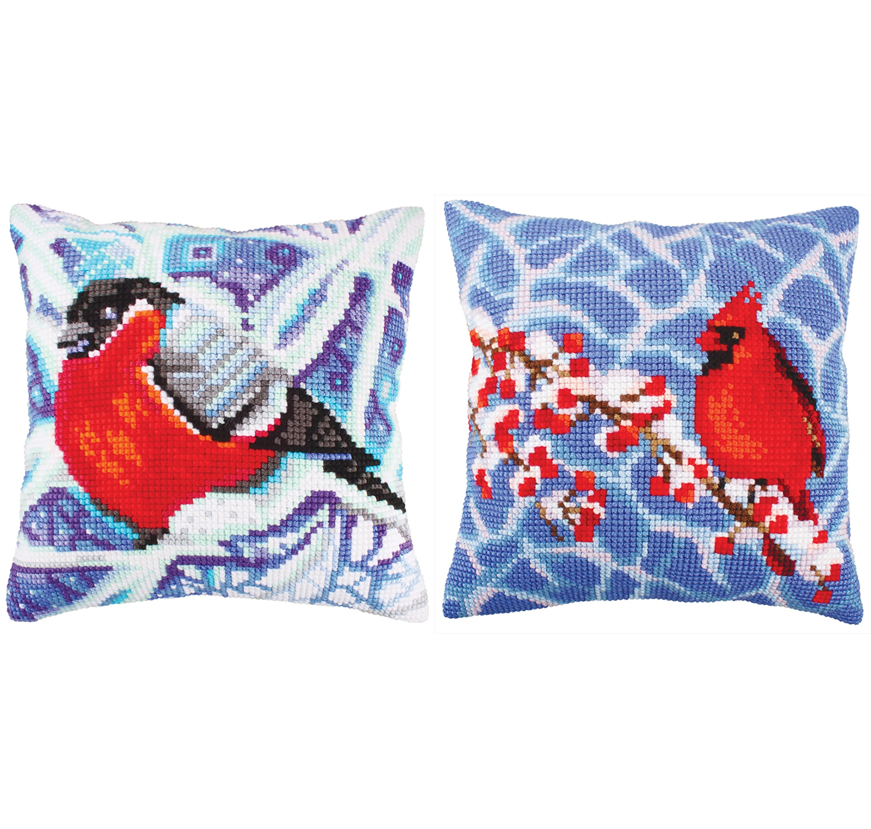 Craft Online Store Counted Cross Stitch Kits Design Craft Online Store Needlepoint Kit Winter Birds Flora Fauna Bullfinch Blue Red New Year Christmas