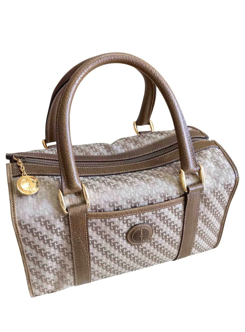 Etsy Vintage Gucci Vintage Gucci Beige Brown Gg Monogram Jacquard And Leather Combo Speedy Design Handbag With Golden Logo Charm