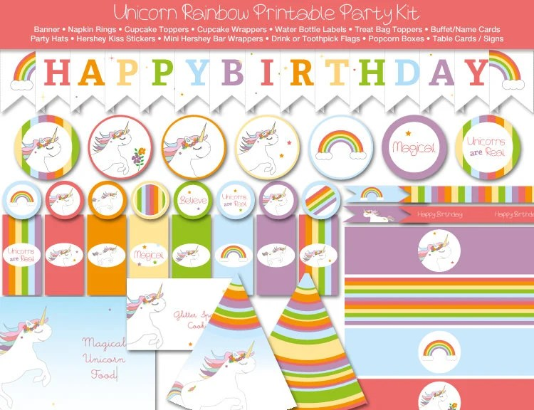 Unicorn Rainbow Printable Party Kit, Instant Download, Editable by