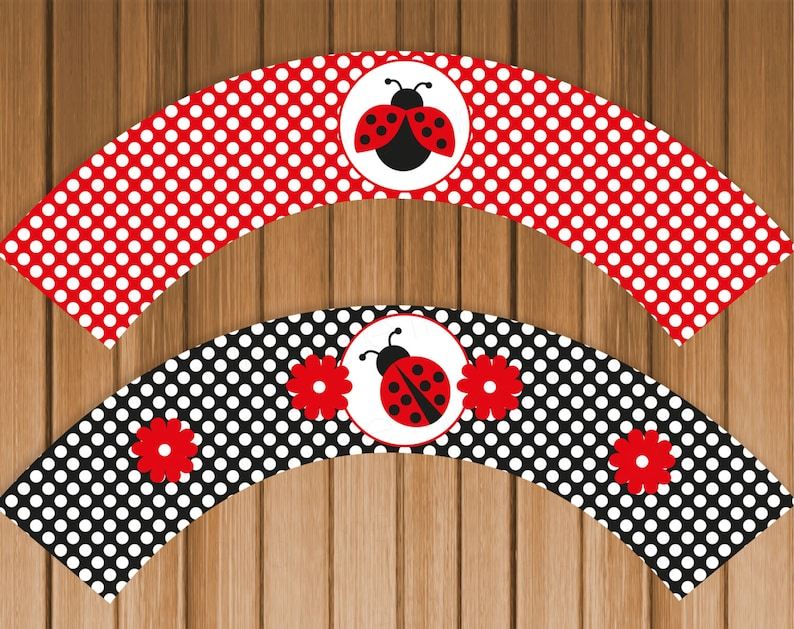 Ladybug Printable Cupcake Wrappers Digital File Printable Etsy